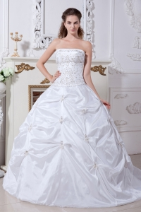 A-line Wedding Gown Strapless Court Train Taffeta Embroidery