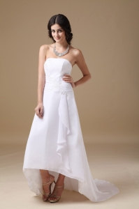 A-line Strapless High-low Chiffon Appliques Wedding Dress