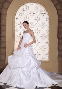 A-line Wedding Dress Embroidery Taffeta White Pick-ups