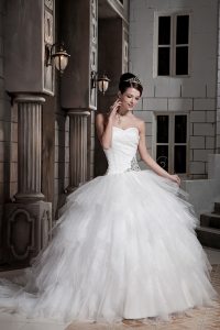 Ball Gown Court Train Tulle Taffeta Beading Wedding Dress