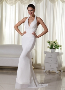 Column Halter Brush Train Chiffon Appliques Wedding Dress