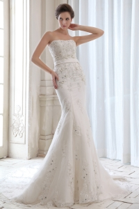 Mermaid Strapless Satin Beading Appliques Wedding Dress