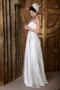 A-line V-neck Elastic Woven Beading Wedding Dress