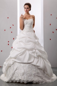 Pick-ups Sweetheart Wedding Gowns Lace and Ruch