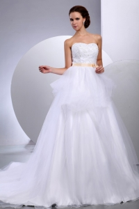 Strapless Wedding Gowns With Appliques and Sash
