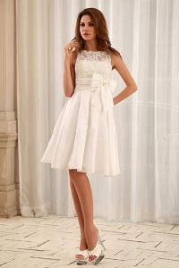 Sweet Bateau Short Wedding Gowns Lace and Sash