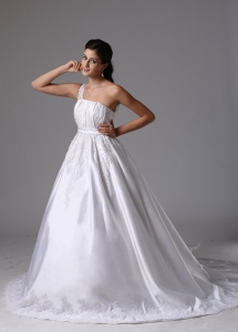 A-line One Shoulder Wedding Dress Embroidery and Ruch