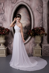 Empire Wedding Dress One Shoulder Court Train Chiffon