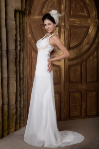 Empire V-neck Brush Train Chiffon Ruch Wedding Dress