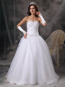 A-Line / Princess Sweetheart Bridal Gown Organza Beading