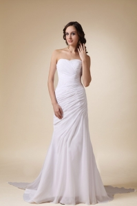 Column Sweetheart Watteau Train Chiffon Ruch Wedding Dress
