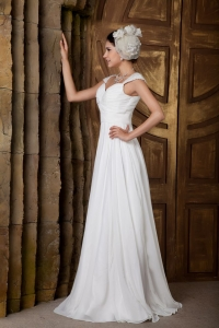 Elegant Empire Sweetheart Brush Train Beading Wedding Dress