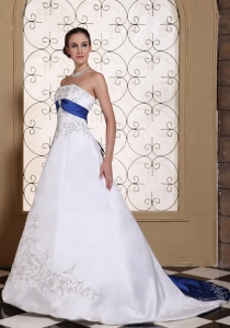 Embroidery Beading Satin Chapel Train Wedding Dress