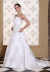 Wedding Gown Embroidery With Beading On Satin Elegant