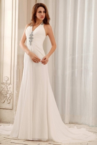 Beaded Halter Weding Dress With Chiffon For Wedding Party
