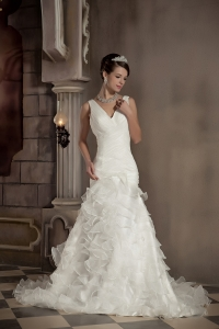 Mermaid V-neck Chapel Train Organza Ruffles Wedding Dress