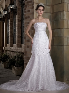 Mermaid Strapless Chapel Train Lace Beading Wedding Dress