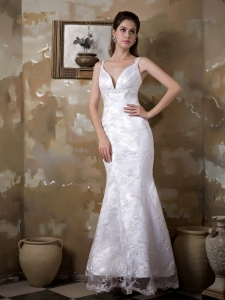 Mermaid Straps Ankle-length Satin and Lace Wedding Dress