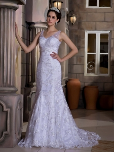 Mermaid Bridal Gown V-neck Court Train Taffeta and Lace