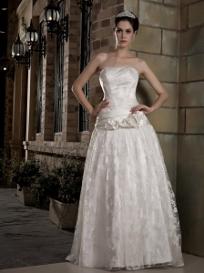 A-line Strapless Lace Hand Made Flowers Wedding Dress