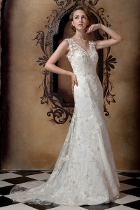 Column V-neck Brush Train Taffeta and Lace Wedding Dress