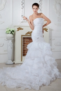 Mermaid Strapless Court Train Organza Wedding Dress