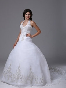 Halter Ball Gown Wedding Dress Embroidery Court Train