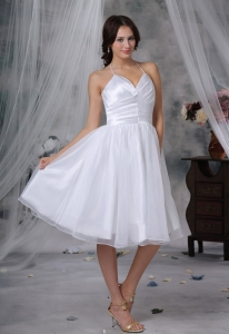 Knee-length Organza Ruched Bodice Short Wedding Dress