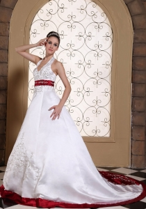 Modest Wedding Dress Beautiful Embroidery On Satin