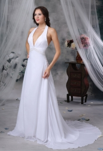 Halter Beaded Decorate Wasit Court Chiffon Wedding Dress