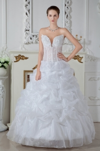 Ball Gown Sweetheart Organza Embroidery Wedding Dress