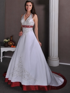 A-line Halter Chapel Satin Appliques Beading Wedding Dress