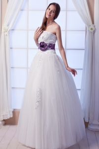Wedding Gown Strapless Tulle Beading Hand Made Flowers