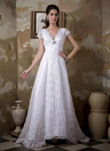 A-line V-neck Brush Train Satin and Lace Wedding Dress