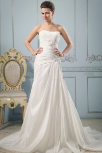 Princess Strapless Wedding Dress With Appliques and Ruch