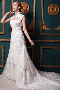 Modest A-line Elegant Chapel Train Lace Sash Wedding Dress