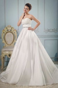Sweetheart Beaded Ruch Wedding Gowns For Wedding Party