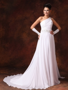 Wedding Gown One Shoulder Empire Beaded Court Train