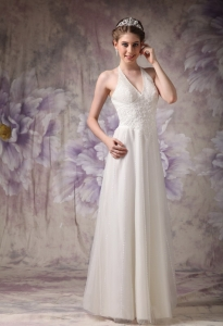 Column Halter Floor-length Tulle Beading Wedding Dress