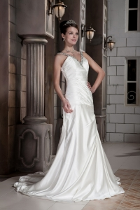 A-line Princess V-neck Train Beading Ruch Wedding Dress