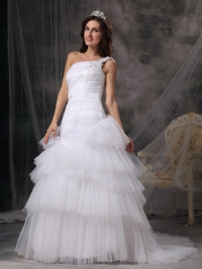 A-line One Shoulder Court Train Wedding Dress Beading