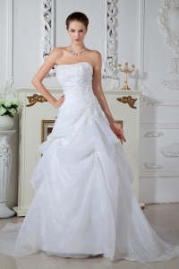 Ball Gown Strapless Brush Train Appliques Wedding Dress