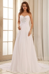 Pretty Sweetehart Beaded Decorate and Ruch Weding Dress