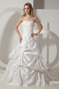 A-line Wedding Dress Strapless Chapel Train Pick-ups