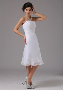 Short Wedding Dress With Lace Strapless Knee-length