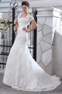 Mermaid Strapless Court Train Lace Belt Wedding Dress