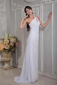 Bridal Gown Column One Shoulder Brush Train Chiffon Ruch