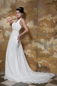 Column V-neck Court Train Chiffon Beading Wedding Dress