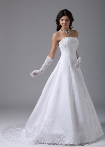 Strapless A-line Bridal Gown Dress With Lace and Satin