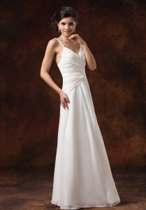 Straps Ruched Bodice Floor-length For Wedding Dress